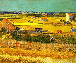 Wieco Art Harvest at La Crau with Mont majour Canvas Prints Wall Art by Van Gogh Famous Oil Paintings Reproduction Classic Rural Pictures for Home Decorations Modern Abstract Landscape Giclee Artwork