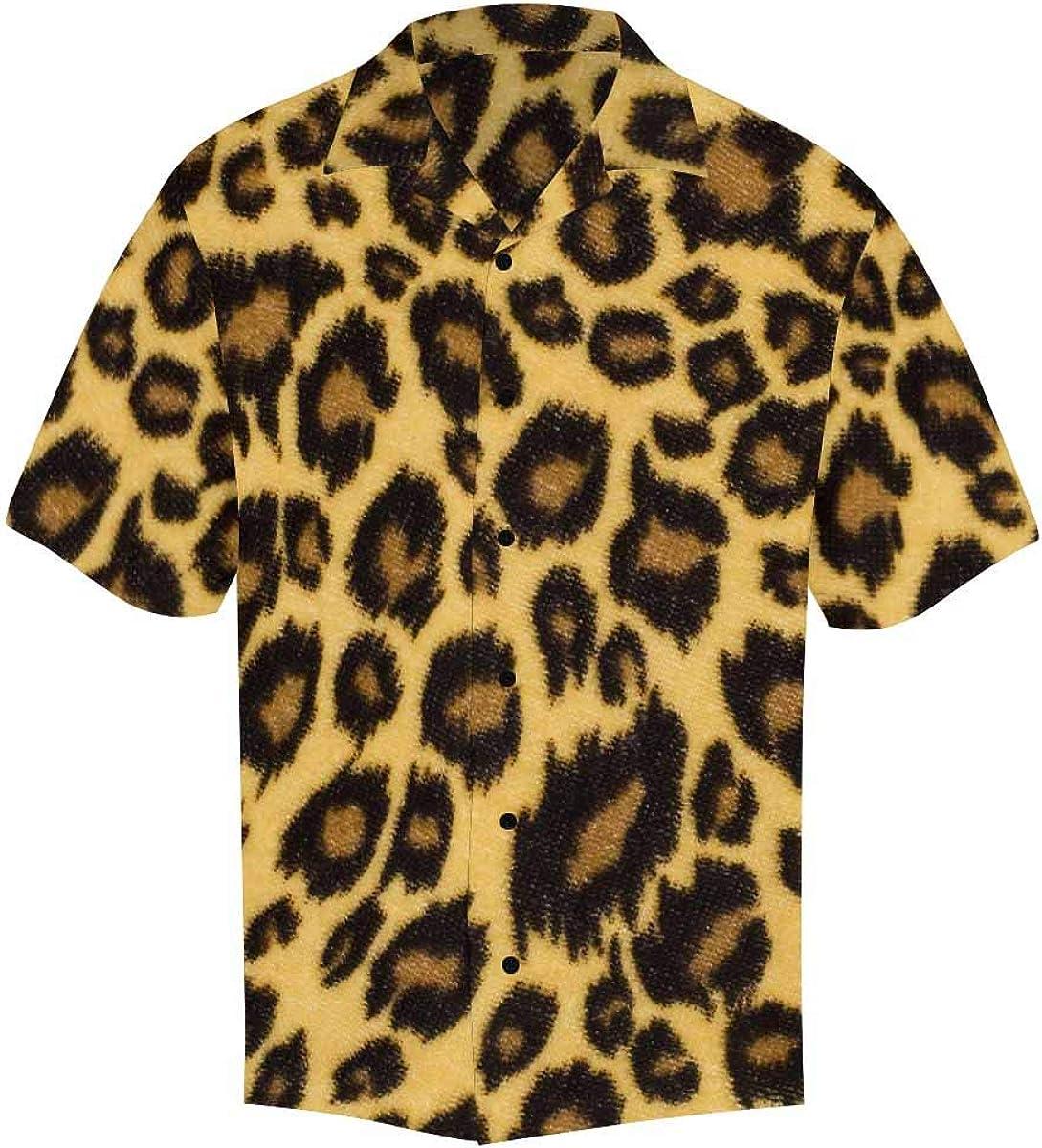 InterestPrint Men's Casual Button Down Short Sleeve Halloween Panda Pumpkin Hawaiian Shirt (S-5XL)