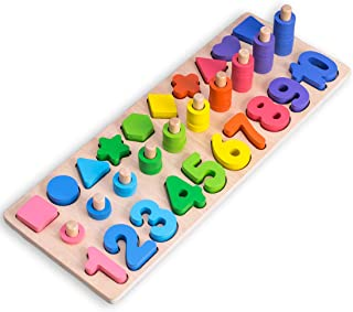 Wooden Number Puzzle Sorting Montessori Toys for Toddlers, Shape Sorter Game for Age 3 4 5 6 Year olds Kids,3 in 1 Preschool Early Learning Educational Children Toy,Best Gift for Kids