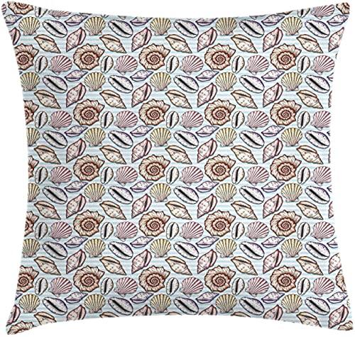 DRXX Marine Throw Pillow Funda de cojín, Retro Mollusk Oyster Nautilus Starfish Coleshell en Striped Badrop en Tonos Pastel, Funda de Almohada Decorativa Cuadrada Decorativa, 45X45cm, Multicolor