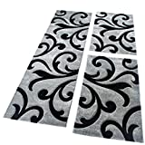 Paco Home Bettumrandung Läufer Teppich Modern Ranken Muster Grau Schwarz Läuferset 3 TLG, Grösse:2mal 80x150 1mal 80x300