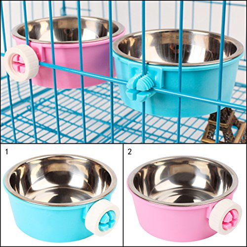 Futternapf Katze,Legendog Näpfe Edelstahl Hund Katze Napf Näpfe Zum Einhängen für Hunde Katzen Hamster Kaninchen Vögel (Blau) - 2
