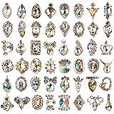 48pcs Rhinestones for Nails, Nail Diamonds Glass Crystal AB Metal Gems Jewels Stones for 3D Nails Art Decoration