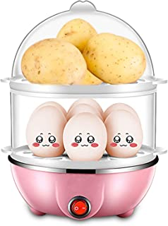 Egg Cooker:Intelligent Egg Steamer with 7/14 Egg Capacity And Multifunctional Dual Layer,Omelets with Auto Shut Off Feature - Pink