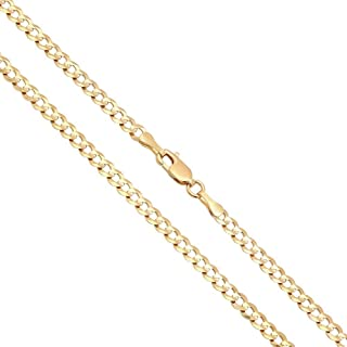 14K Solid Yellow Gold 3mm Cuban Curb Link Chain Necklace, 16-30