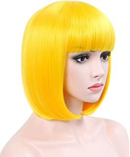 COSYCODE 12 inches Yellow Short Bob Wig with Bangs Synthetic Cosplay Wigs for Halloween Party