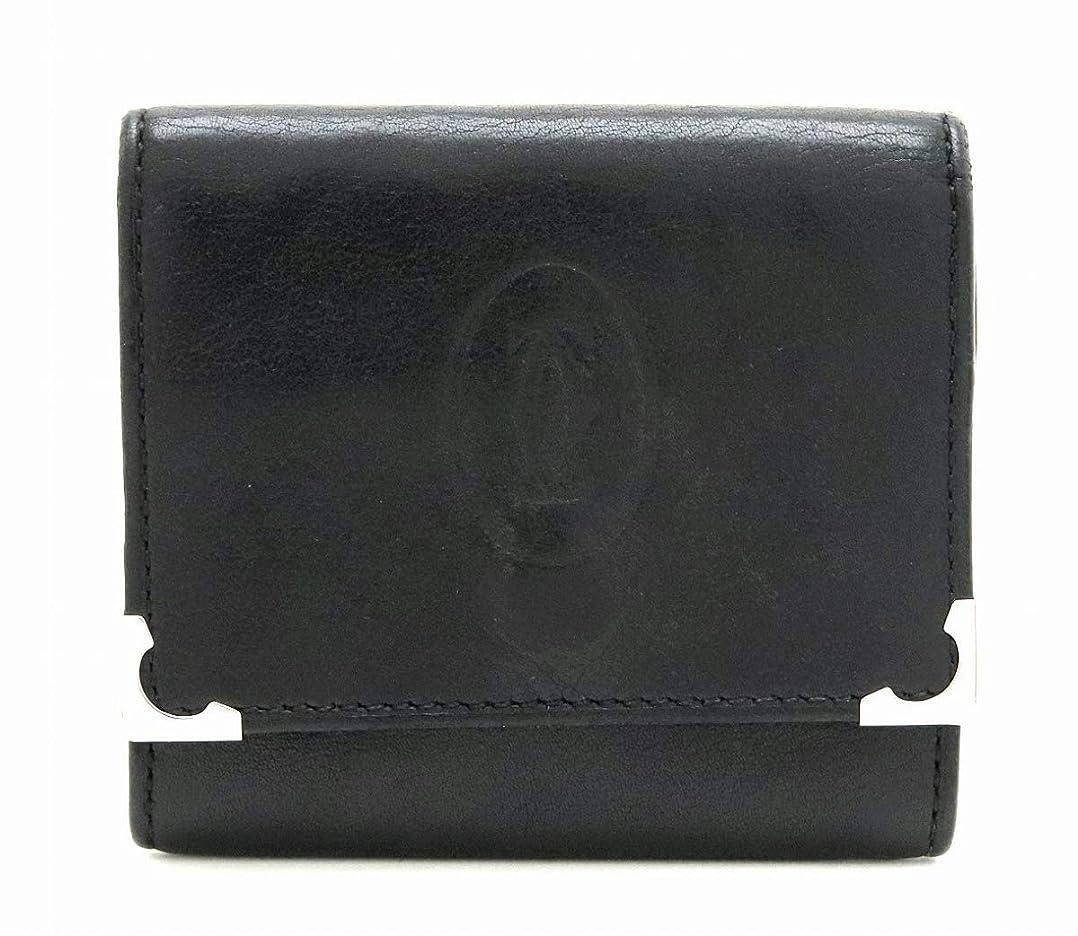 熱岩ブーム[カルティエ] Cartier カボション コインケース 小銭入れ スクエア レザー ブラック ボルドー L3000571 [中古]