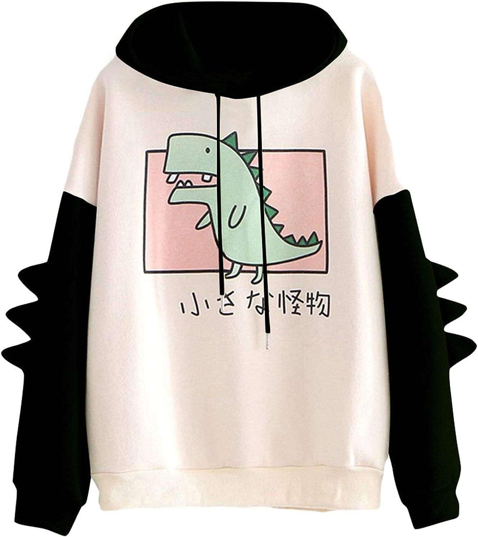 Women Teen Girls Dinosaur Hoodie Sweatshirt Novelty Cute Emo Dinosaur Cosplay Cartoon Shirt Hoodie Hoody Top