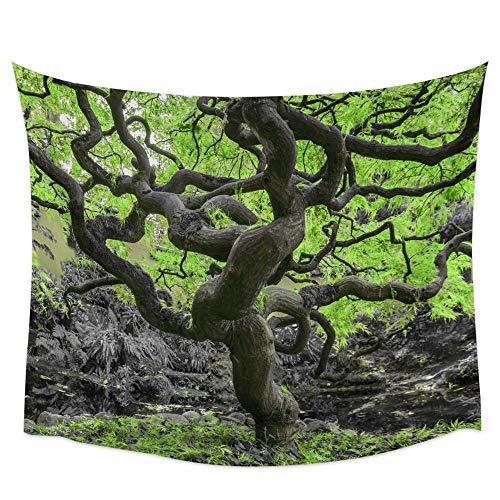 Anime paisaje tapiz de pared toalla de playa verde cascada picnic decoración del hogar fondo tela revestimiento de pared a14 73x95 cm