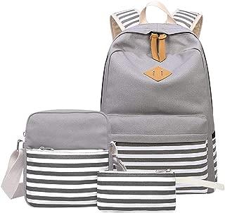 DHINGM Striped Bag Set, Rucksack, Lunch Shoulder Bag, Message Bag, Pencil Bag Casual Backpack, 3PCS Backpack, Comfortable. Lightweight Structure for Easy Carrying (Color : Khaki)