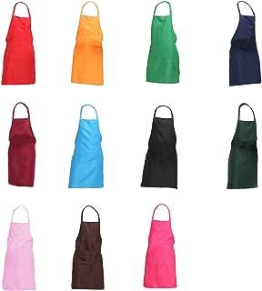TRENDBOX Total 11 PCS Plain Color (Medium Size) Bib Apron Adult Women Unisex for Waist Size 30