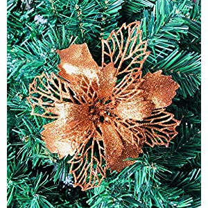 Kubert 24Pcs Christmas Copper Glitter Mesh Holly Leaf Artificial Poinsettia Flowers Picks Tree Ornaments 6.3″ W for Copper Christmas Tree Wreath Garland Floral Gift Winter Wedding Holiday Decoration
