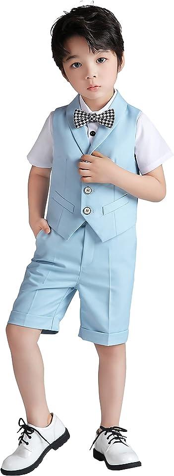 4-teiliger Festliche Kleidung Jungen Kurzarm Anzug für Sommer, Kinder Anzüge für Hochzeit, Weste + Hemd + Shorts + Fliege