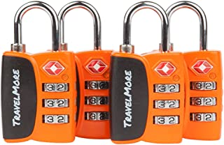 Open Alert Indicator TSA Approved 3 Digit Luggage Locks To Lock Travel Suitcase (4 Pack, Orange)