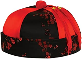 e7a6287abf4 Club Pack of 12 Red and Black Mandarin Hat Halloween Costume Accessories -  One Size Fits