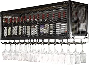 Black/Bronze Ceiling Wall Mounted Hanging Wine Racks Vintage Style Bar Wine Bottle Holder Goblet Racks Wine Shelves Storag...