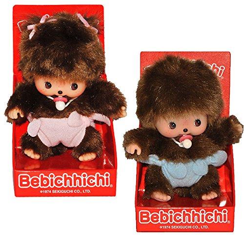 alles-meine.de GmbH 2 TLG. Set: Monchichi Bebichhichi Baby - Mädchen + Junge - mit rosa / pink + Blauer - Hose Monchhichi zur Geburt Neugeborene Babys - Babymonchichi - Baby - Wi..