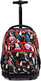 18 Inches Wheeled Student Rolling Backpack - Lightweight For Boys And Girls School Books Laptop Travel Trolley Bag (Color : E, Size : 33x21x48cm)