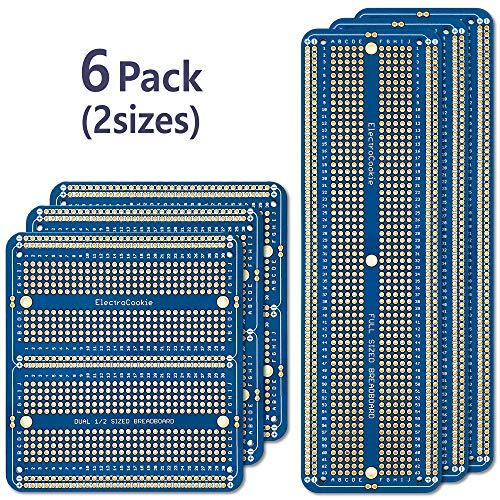 ElectroCookie große PCB Prototype Board bausatz solderable experimentiersyst für DIY arduino und löten projekte, vergoldet (6 Multi-Pack-blau)