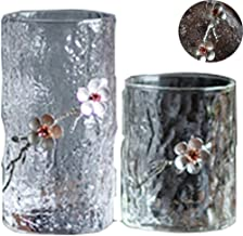 Tumblers mugs coffee cup glass Japanese Hammered Glass Tea Cup Inlay Plum Blossom Whiskey Glass Green Tea Cup Tea Set Personal Cup (Color : Plum, Size : 280+400ml)