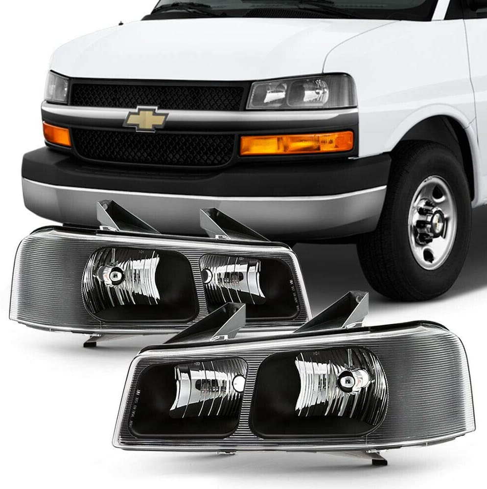 NEW Headlights quality assurance Compatible with Express Van Max 57% OFF Savana Housing Black