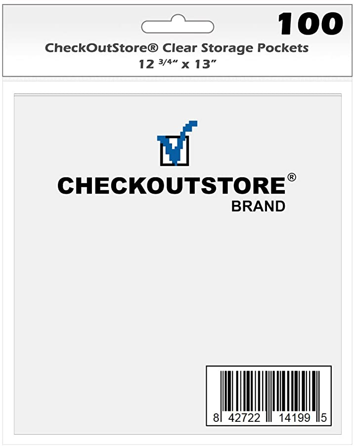 (50) CheckOutStore Clear Storage Pockets for Storing 12 x 12 Cardstock Paper Used for Rubber Stamping & Scrapbooking (Clear - 12 3/4