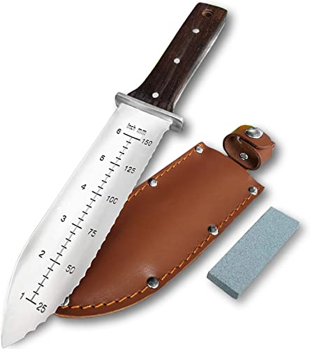 new arrival Gonicc Professional Garden Knife with Leather Sheath, Protective Handguard, High Polished online 440 Stainless Steel Blade, Sharpening Stone Included, for Weeding, Digging, Pruning, wholesale and Cultivating online