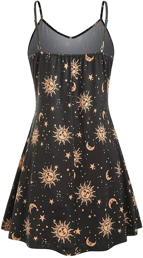 Womens Plus Size Sleeveless Dresses,Ladies Sexy Fashion Halter Print Crewneck Daily Home Wear Casual Comfy Dress