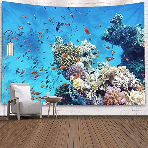 N\A Tapiz de Pared, tapices Deacutecor para Sala de Estar para el hogar de Printed for Coral Reef con corales Duros y Blandos Peces exóticos en el Fondo del Agua Azul del mar Tropical, Gris Turquesa