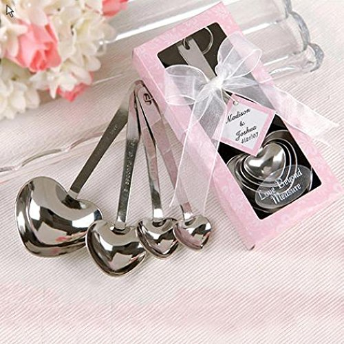 SoundsBeauty 4Pcs/Set Heart Shaped Stainless Steel Measuring Spoons Wedding Shower Favors
