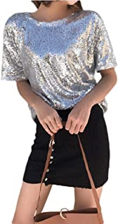 Howely Women Bling Short Sleeve T Shirts Sequin Casual Blouse Tops