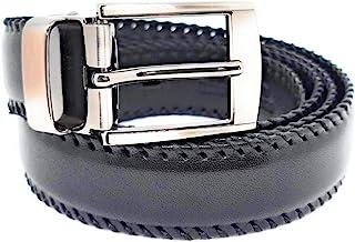 Cintura Uomo/Donna in vera pelle di vitello 100% MADE IN ITALY. Cinta nera fatta a mano, intreccio in filo cerato.