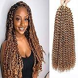 MOBOK Passion Twist Crochet Hair 18 Inch Blonde Braiding Hair Color #27 Water Wave Crochet Hair Passion Twist Hair 6 Packs Crochet Braids Hair For Black Women Synthetic Braiding Hair Extension