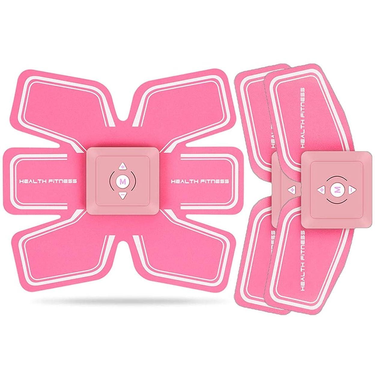 攻撃的完全に飾り羽ABSトレーナーEMS腹部電気マッスルスティミュレーターマッスルトナー調色ベルトフィットネストレーニングギアABSエクササイズマシンウエストトレーナーホームワークアウト (Color : Pink, Size : D)
