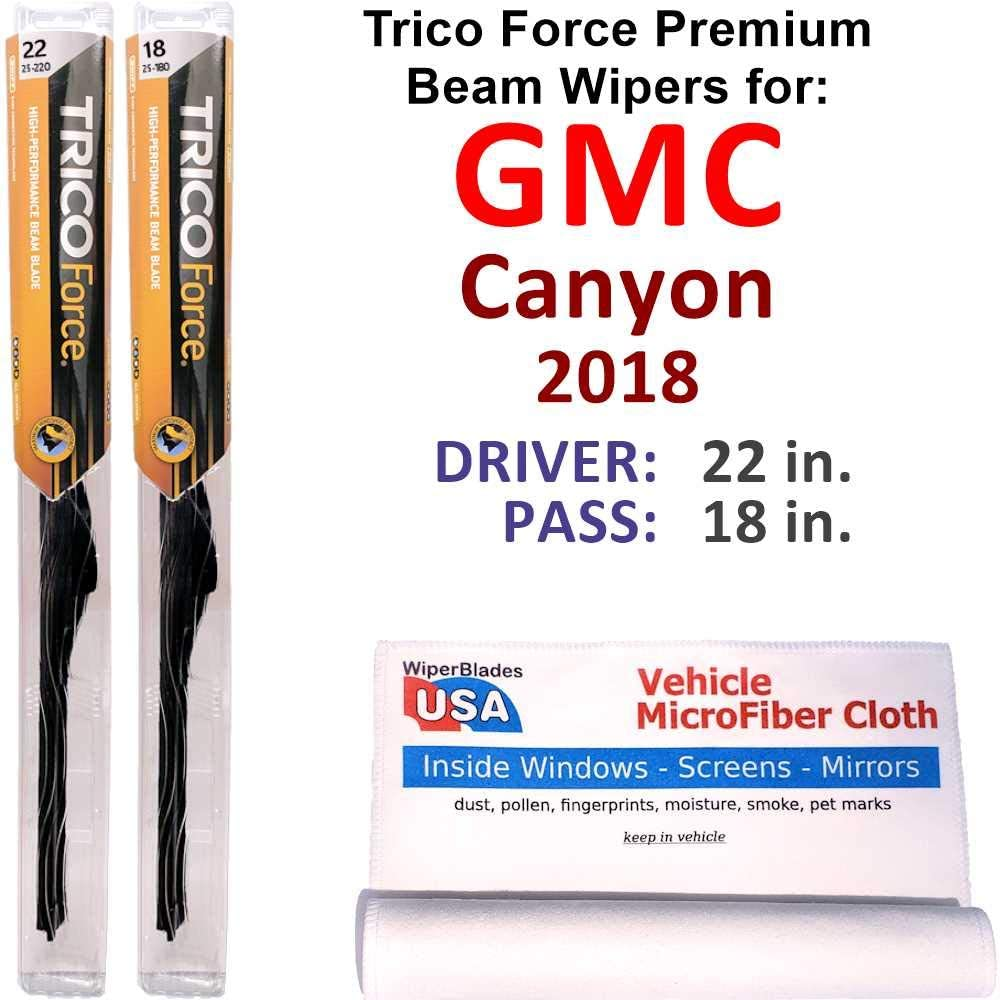 Premium オープニング 大放出セール Beam Wiper Blades for 2018 SEAL限定商品 Force Set Canyon Be Trico GMC