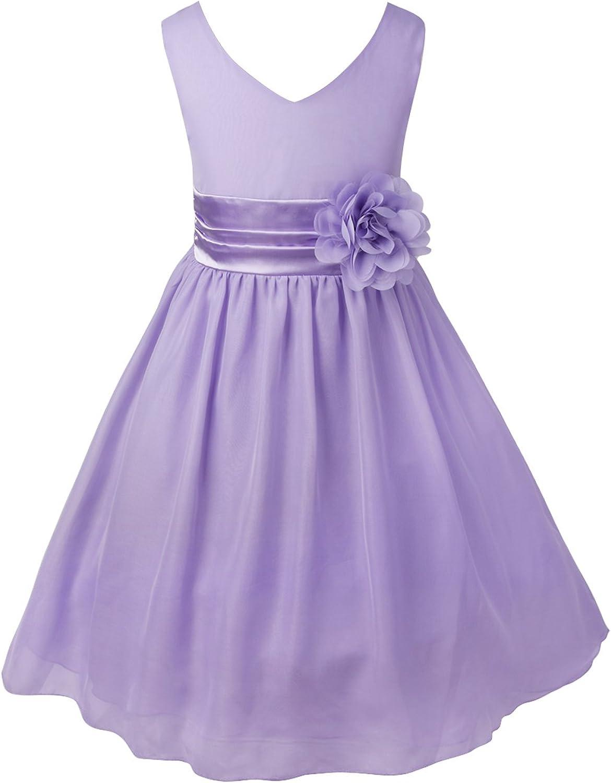 ACSUSS Kids Flower Girls Elegant Sleeveless V-Neck Wedding Bridesmaid Flower Dress Formal Chiffon Dress Ball Gown
