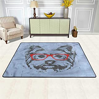 Rugs Yorkie, Fun Portrait Red Glasses Graceful Area Rug Durable and Resistant to Soiling 6.5 x 10 Feet