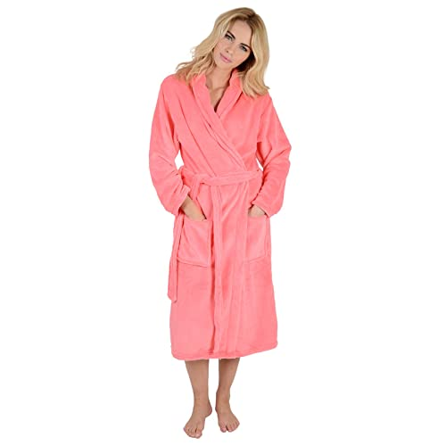 d4e43dad90 Ladies Coral Fleece Super Soft Thick Luxurious Bath Robe Dressing Gown Wrap  Housecoat Bathrobe