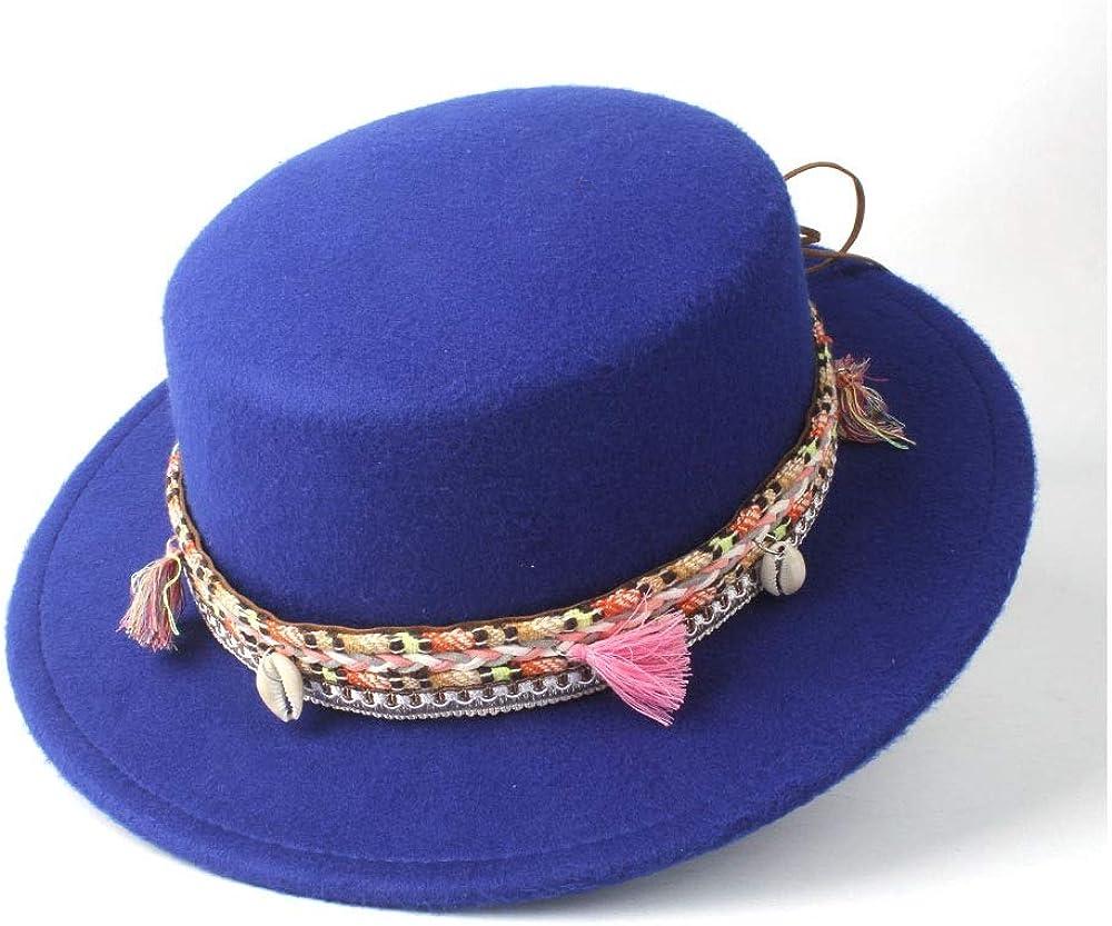L.W.SUSL Women Men Flat Top Fedora Hat with Belt Bowler Hat Outdoor Travel Church Casual Wild Hat