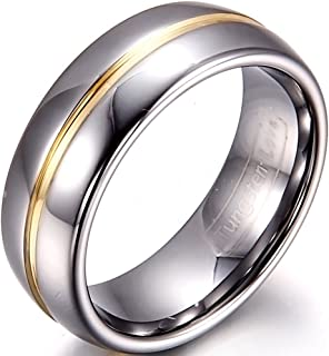JewelryWe 8mm Two Tone Mens Gold Groove Inset Tungsten Carbide Rings Anniversary/Engagement/Wedding Bands