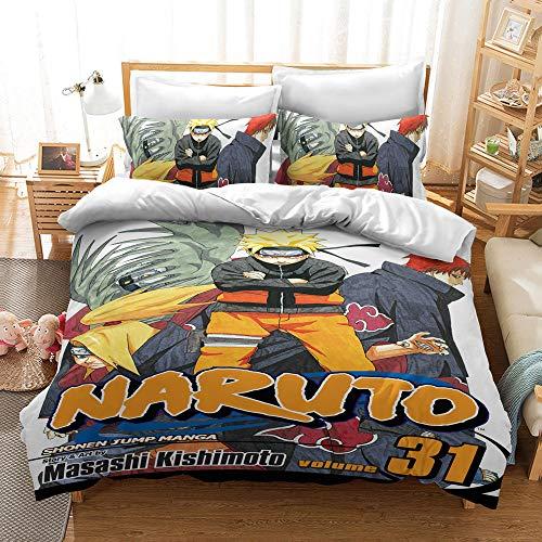Aatensou Juego de ropa de cama con impresión 3D de Naruto (funda nórdica y funda de almohada, ropa de cama para chicos con 1 funda nórdica y 2 fundas de almohada Shams (1,140 x 200 cm y 50 x 75 cm)