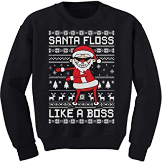 Santa Floss Like a Boss Funny Ugly Christmas Sweater Youth Kids Sweatshirt