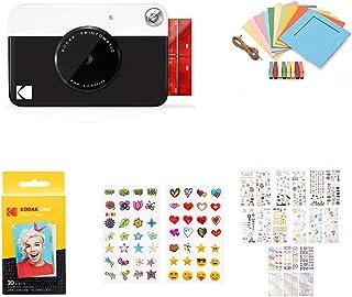 KODAK PRINTOMATIC Digitale Sofortbildkamera, Vollfarbdrucke auf Zink 2x3 Fotopapier mit Sticky Back Funktion   Drucken Sie Memories Sofort (Schwarz), Starter Bundle