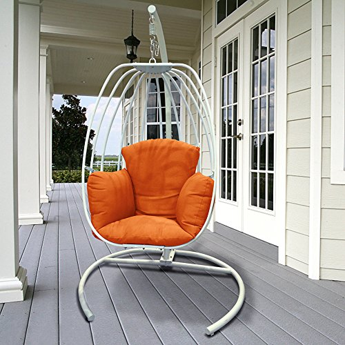 Indoor Outdoor Hanging Egg Swing Chair with Cushion and C Stand, Egg Shaped Hanging Swing Chair, Egg-Shaped Hammock Swing Chair Single Seat (Orange)
