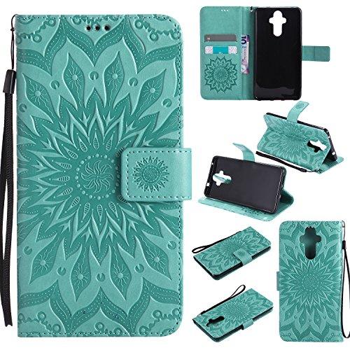 Jeewi Hülle für Huawei Mate 9 Hülle Handyhülle [Standfunktion] [Kartenfach] [Magnetverschluss] Tasche Etui Schutzhülle lederhülle klapphülle für Huawei Mate9 - JEKT031041 Grün