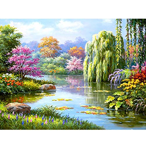 DIY 5D Diamond Painting Landscape Lake Sunset Set Full Drill Diamond Embroidery Scenery Mosaic Pictures Rhinestones A9 50x60cm