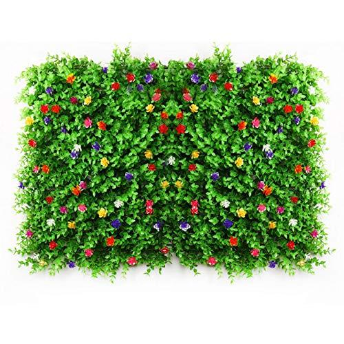 Konstgjorda häckar paneler med blommor konstgjord buxbom häckar paneler gräs grönskt murgröna sekretess staket skärm konstväxt vägg bakgrund för hem trädgård trädgård bröllop dekoration