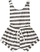 AutumnFall 3M-6Y Summer Light Breathable Toddler Baby Girl Kid Sleeveless Backless Striped Romper Jumpsuit Outfits (Age:6-...