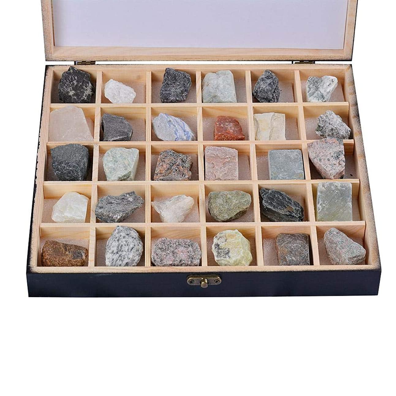 望みマイクロ放射能Classicbuy 地質学 教授ツール 岩石 鉱物 科学おもちゃ 30PCS岩石標本(堆積岩/変成岩/火成岩)地質学教育助剤鉱石結晶