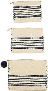 Mud Pie Nesting Set of Three Paper Straw Carry-All Cases (Navy Stripe)